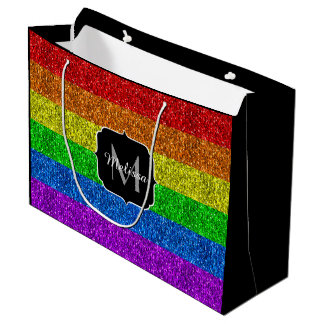 LGBT flag vibrant sparkles Monogram Large Gift Bag