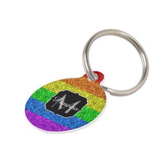 LGBT flag vibrant sparkles Monogram Pet Name Tag