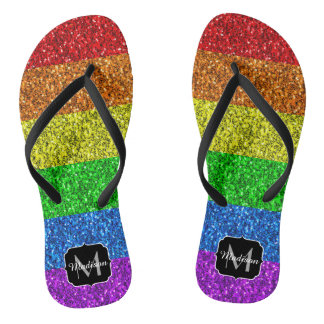 LGBT flag vibrant sparkles Monogram Thongs