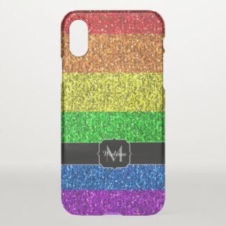 LGBT flag vibrant sparkles Monogram Uncommon iPhone X Case