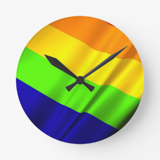 Lgbt Gay Flag Symbol Pride Rainbow Lesbian Love Round Clock