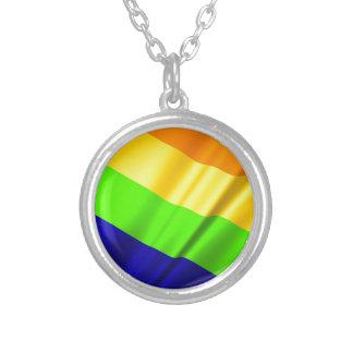 Lgbt Gay Flag Symbol Pride Rainbow Lesbian Love Silver Plated Necklace
