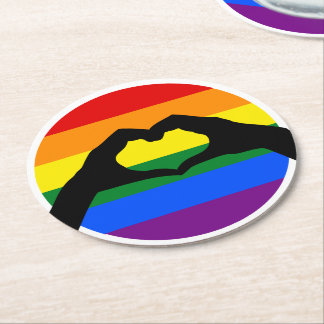 LGBT Gay Pride Rainbow and Heart Hand Silhouette Round Paper Coaster
