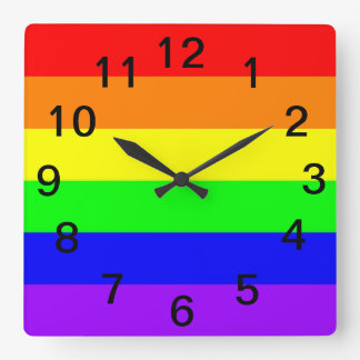 LGBT Gay Pride Rainbow Flag! Time For Equality! Square Wall Clock