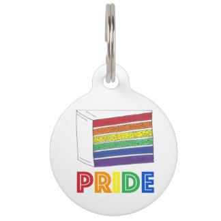 LGBT Gay Pride Rainbow Layer Cake Dog Pet Tag
