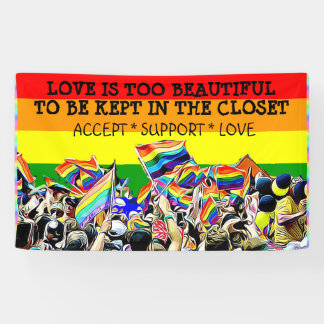 LGBT Love is Beautiful Parade Rainbow BANNER