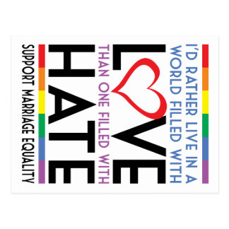 LGBT Love Over Hate Post Cards