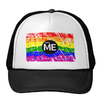 LGBT Pride Flag Dripping Paint Born Me Mesh Hats