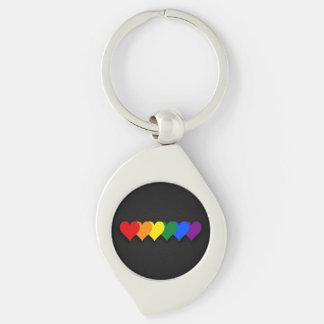 LGBT pride hearts Metal Keychain Silver-Colored Swirl Key Ring