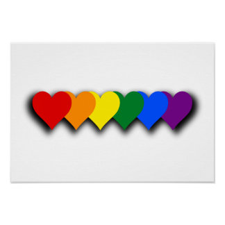 LGBT pride hearts Poster