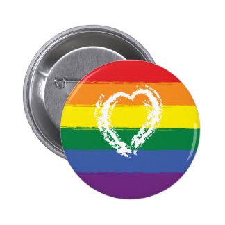 LGBT Pride rainbow flag paint effect heart badge