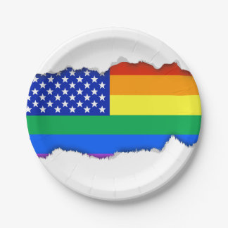 LGBT Rainbow American Flag 7 Inch Paper Plate