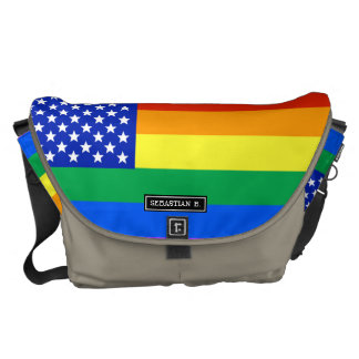 LGBT Rainbow American Flag Courier Bag