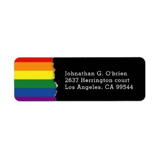 LGBT Rainbow Flag   Blk Return Address Return Address Label