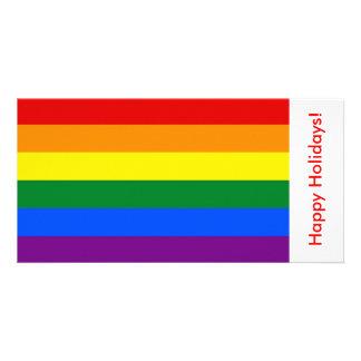 LGBT Rainbow Flag, Happy Holidays Photo Card