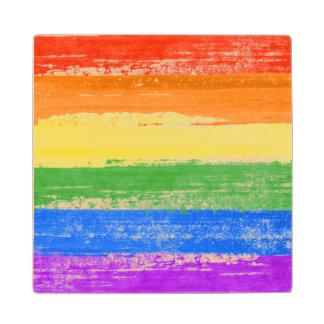 LGBT RAINBOW FLAG PAINT WOOD COASTER