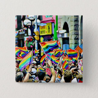 LGBT Rainbow Flags Protest or Rally Button