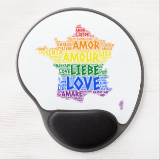 LGBT Rainbow France Map illustrated with Love Word Gel Mouse Pad