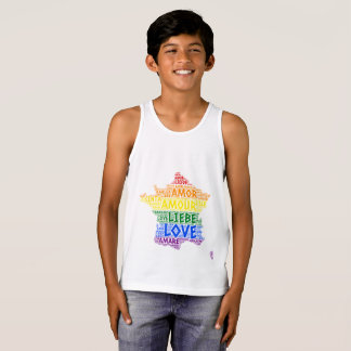LGBT Rainbow France Map illustrated with Love Word Singlet