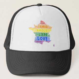 LGBT Rainbow France Map illustrated with Love Word Trucker Hat