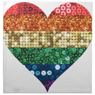 lgbt rainbow heart napkin