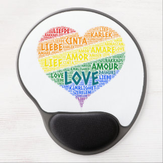 LGBT Rainbow Hearth Flag illustrated with Love Gel Mouse Pad