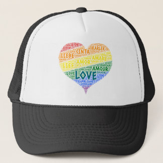 LGBT Rainbow Hearth Flag illustrated with Love Trucker Hat