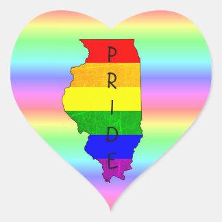 LGBT Rainbow Illinois Pride Heart Stickers