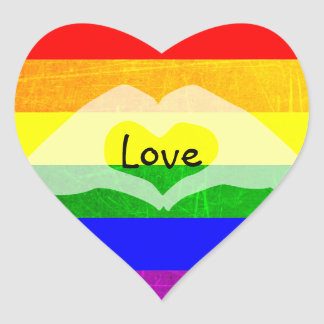 LGBT Rainbow Pride Holding Hands Heart Stickers