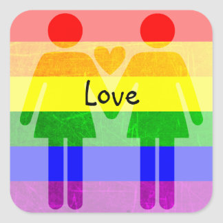 LGBT Rainbow Pride Holding Hands Love Stickers