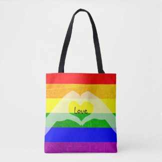 LGBT Rainbow Pride Love Tote Bag