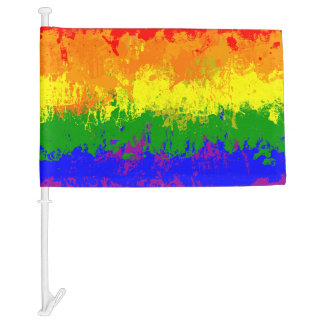 LGBT Rainbow Pride Paint Splatter Car Flag