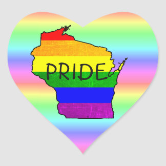LGBT Rainbow Wisconsin Pride Heart Stickers