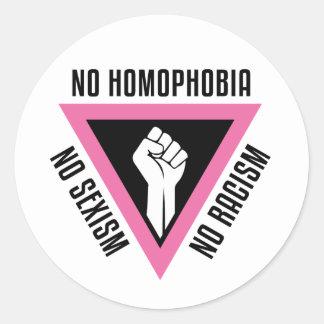 LGBT - Raised fist in Pink triangle Round Sticker