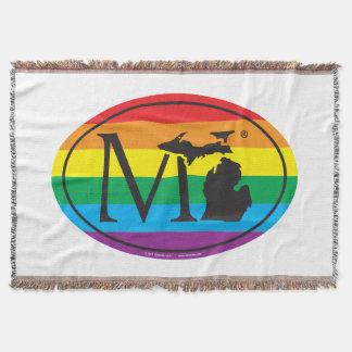 LGBT State Pride Euro: MI Michigan Throw Blanket