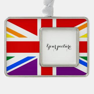 LGBT UK SILVER PLATED FRAMED ORNAMENT