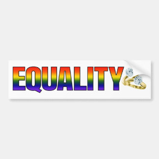 LGBTQ Rainbow Marriage Equality Diamond Rings Bumper Sticker