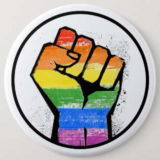 LGBTQ RESIST FIST 6 CM ROUND BADGE