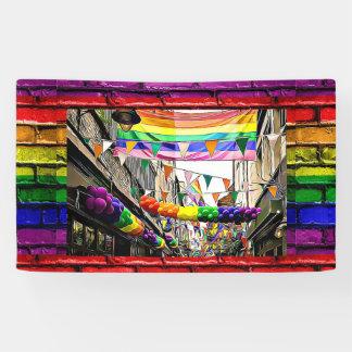lgbtqia Rainbow Flags Brick Wall Rally Banner