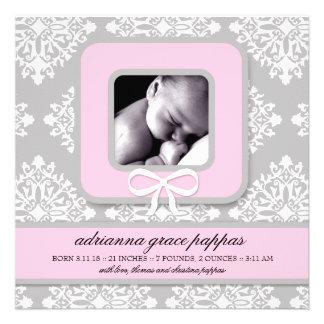 LGC Gray Pink Damask Girl Announcement