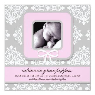 LGC | Gray & Pink Damask Girl Announcement