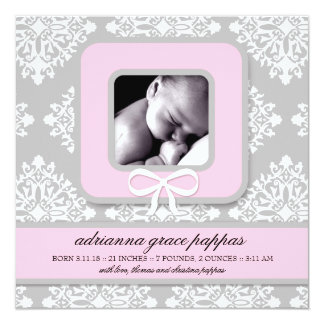 LGC | Gray & Pink Damask Girl Announcement