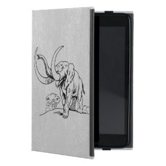 LGray Faux Leather & Black Elephant Illustration Case For iPad Mini