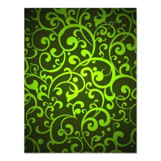 LGYFDS LIMEON GREEN YELLOW DIGITAL SWIRLS RANDOM A CUSTOM INVITATIONS