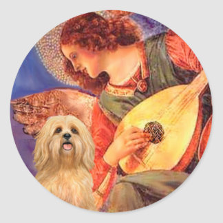 Lhasa Apso 9 - Mandolin Angel Classic Round Sticker