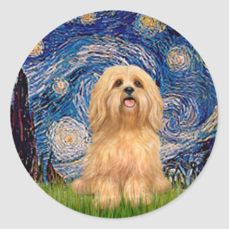 Lhasa Apso 9 - Starry Night Classic Round Sticker