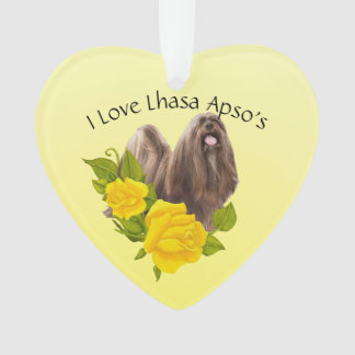 Lhasa Apso and Yellow Roses Ornament