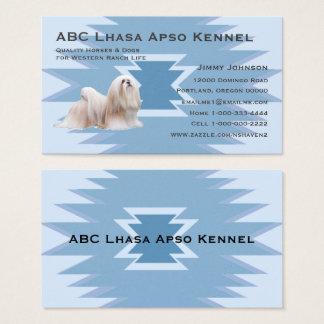 Lhasa Apso Blue Indian Design Business Card