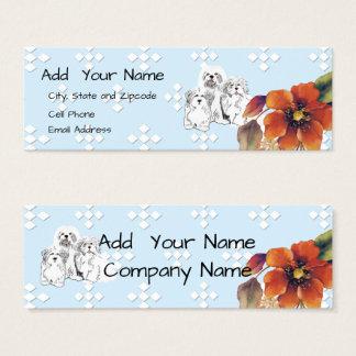 Lhasa Apso Blue w/ White Diamond and Autumn Flower Mini Business Card