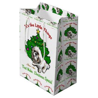 Lhasa Apso Christmas Medium Gift Bag